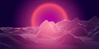 Abstract 3d grid landscape with sphere sun on horizon. Technolo. Abstract landscape with sphere sun on horizon. Technology vector background royalty free illustration