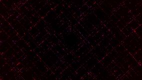 Abstract 3D grid with the shapes of moving squares, seamless loop. Animation. Concept of flowing red energy impulses on