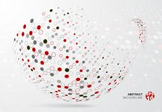 Abstract 3d halftone dots patter red, black and gray color wrap. On curve circle on white background. Vector illustration Royalty Free Stock Images