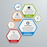Abstract 3D hexagon business options infographics template. Vector illustration Royalty Free Stock Images
