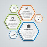 Abstract 3D hexagon business options infographics template. Vector illustration Stock Images
