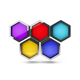 Abstract 3d honeycomb design object on white. Abstract 3d colorful honeycomb design object isolated on white royalty free illustration