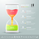 Abstract 3D hourglass illustration Infographic. Royalty Free Stock Photo