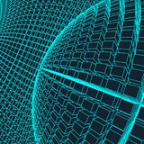 Abstract 3d Illuminated distorted Mesh Sphere . Neon Sign . Futuristic Technology HUD Element . Elegant Destroyed . Big. Data Stock Image