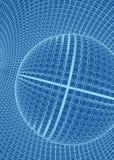 Abstract 3d Illuminated distorted Mesh Sphere . Neon Sign . Futuristic Technology HUD Element . Elegant Destroyed . Big. Data stock illustration