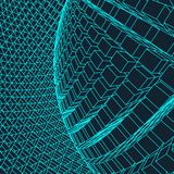 Abstract 3d Illuminated distorted Mesh Sphere . Neon Sign . Futuristic Technology HUD Element . Elegant Destroyed . Big. Data Royalty Free Stock Photos
