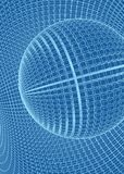 Abstract 3d Illuminated distorted Mesh Sphere . Neon Sign . Futuristic Technology HUD Element . Elegant Destroyed . Big. Data royalty free illustration