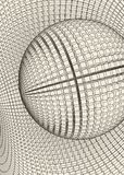 Abstract 3d Illuminated distorted Mesh Sphere . Neon Sign . Futuristic Technology HUD Element . Elegant Destroyed . Big. Data Stock Photography