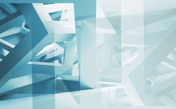 Abstract 3d illustration background with chaotic construction. Blue and white abstract 3d illustration background with chaotic constructions made of cubes Royalty Free Stock Photos