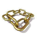 Abstract 3D illustration of a brass chain link. Front view. Abstract 3D illustration of a brass chain link isolated on white background. Front view Royalty Free Stock Photo