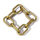 Abstract 3D illustration of a brass chain link. Top view. Abstract 3D illustration of a brass chain link isolated on white background. Top view Stock Photos