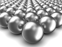 Chrome spheres. Abstract 3d illustration of chrome spheres over white background Royalty Free Stock Image