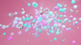 Abstract 3d illustration of colorful and glass geometric spheres against pink background royalty free illustration
