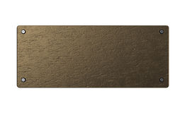 Copper plate. Abstract 3d illustration of copper or bronze plate over white background Stock Photos