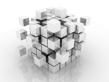 Abstract 3d illustration of cube assembling from blocks. 3D images Royalty Free Stock Photo