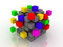 Abstract 3d illustration of cube assembling from blocks. 3d images Royalty Free Stock Photos