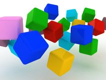 Abstract 3d illustration of cubes.  Royalty Free Stock Photo