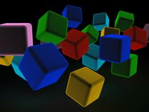 Abstract 3d illustration of cubes.  Stock Photos