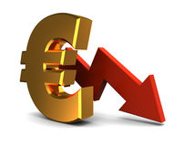 Euro falling graph Stock Images