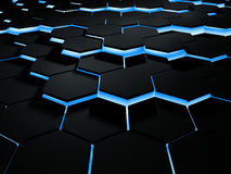 Abstract 3d illustration of futuristic hexogonal surface. Sci-fi background with lighting hexagons. 3D illustration. Abstract futuristic hexogonal surface. Sci stock photo