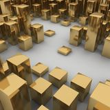 Abstract 3d illustration of gold boxes. On white background Royalty Free Stock Photos