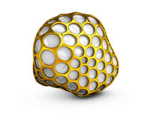 Abstract 3d Illustration gold wireframe sphere. isolated white Stock Photo