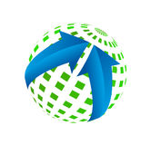 Abstract 3d Illustration of Green Earth Globe and Blue Stock Image