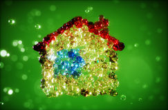 Abstract 3d illustration of home from bubbles. Abstract 3d render illustration of home with bubbles Royalty Free Stock Photos