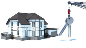 Abstract 3d illustration of home key concept.  royalty free illustration