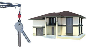 Abstract 3d illustration of home key concept.  stock illustration