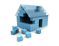 House assembling. Abstract 3d illustration of house construction Stock Image