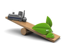 Industry and nature balance. Abstract 3d illustration of industry and nature balance concept royalty free illustration