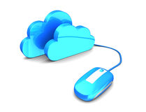 Cloud storage. Abstract 3d illustration of mnouse connected to clouds, cloud storage concept Royalty Free Stock Photo