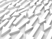 Abstract 3d illustration, one white arrow is opposite. Abstract 3d illustration, one white arrow goes opposite in a group Royalty Free Stock Photos