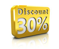 Thirty percent discount. Abstract 3d illustration of 30 percent discount sign Royalty Free Stock Images