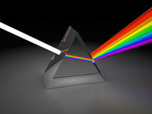 Prism. Abstract 3d illustration of prism dividing light Royalty Free Stock Photography