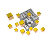 Abstract 3d illustration of steel cube puzzle with gold Stock Image
