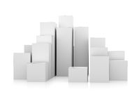 Abstract 3d illustration of white boxes. On white Royalty Free Stock Photography