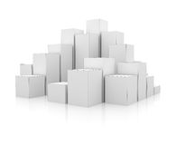 Abstract 3d illustration of white boxes. On white Stock Images