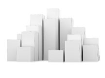 Abstract 3d illustration of white boxes. City background Royalty Free Stock Photos