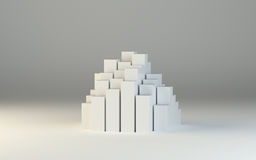 Abstract 3d illustration of white boxes. And gray background. Template for design Stock Photo