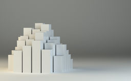 Abstract 3d illustration of white boxes. And gray background. Template for design Stock Photos