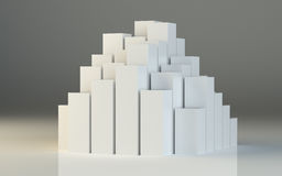 Abstract 3d illustration of white boxes royalty free stock photography