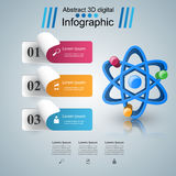 Abstract 3D Infographic. Atom icon. Royalty Free Stock Photos