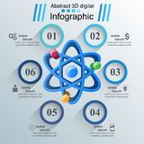 Abstract 3D Infographic. Atom, sience icon. Stock Photo