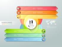 Abstract 3d infographic malplaatje, aantalopties 6 stappen, Royalty-vrije Stock Fotografie