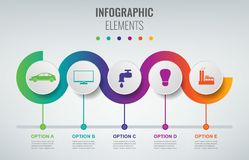 Abstract 3D infographic malplaatje met 5 opties Bedrijfspresentatieconcept Vector vector illustratie