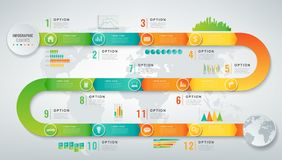 Abstract 3D infographic malplaatje met 12 opties Bedrijfspresentatieconcept Vector stock illustratie