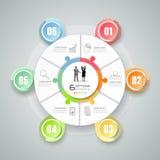 Abstract 3d infographic malplaatje 6 stappen, Royalty-vrije Stock Afbeelding