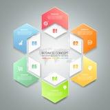Abstract 3d infographic malplaatje 6 stappen, Stock Afbeelding